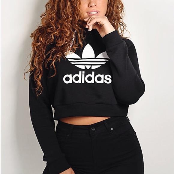 5b515fe8 Brand New Adidas Cropped Trefoil Hoodie NWT